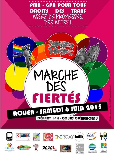 Affiche de la Gay Pride de Rouen 2015