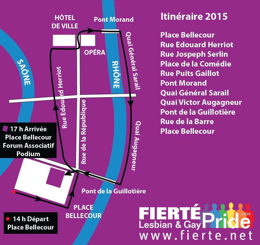 Parcours de la Gay Pride de Lyon 2015
